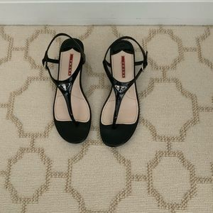 Patent Leather Praded Wedge Sandals - Worn Once